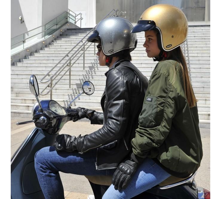 casque jet moto scooter doré glitter ksk