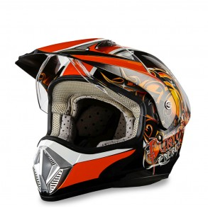 casque cross orange furious éole  Eole