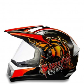 casque cross orange furious éole